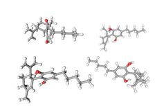 Molecular structure of cannabidiol CBD. Atoms are represented as spheres with conventional color coding: hydrogen. White, carbon grey, oxygen red. Scientific stock illustration
