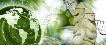 Molecular structure,chain of dna, abstract planet and ancient statues on green background. Image of molecular structure,chain of dna, abstract planet and ancient Royalty Free Stock Image