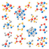 Molecular structure chemical atoms vector set. Royalty Free Stock Photos