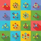 Molecular structure chemical icons set, flat style. Molecular structure chemical icons set. Flat illustration of 16 molecular structure chemical vector icons for Royalty Free Stock Images