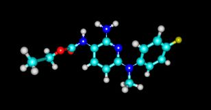 Molecular structure of flupirtine isolated on black. Flupirtine is an aminopyridine that functions as a centrally acting non-opioid analgesic that was originally vector illustration
