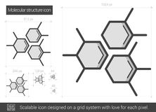 Molecular structure line icon. Stock Images