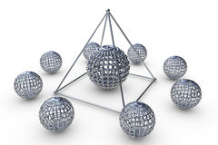 Molecular structure rendered pyramid. In 3D with spheres Royalty Free Stock Image