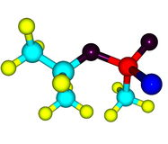 Molecular structure of sarin on white Stock Photography