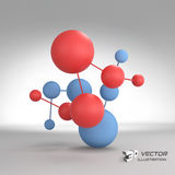 Molecular structure with spheres. 3d vector. Illustration. Can be used for marketing, website, presentation Royalty Free Stock Images