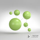 Molecular structure with spheres. 3d vector. Illustration. Can be used for marketing, website, presentation Royalty Free Stock Photos