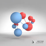 Molecular structure with spheres. 3d vector. Illustration. Can be used for marketing, website, presentation Royalty Free Stock Photography