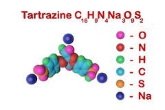 Molecular structure of tartrazine molecule, E102. Tartrazine is a bright yellow pigment, a harmful colorant that is used. In many foods. Food and drink concept royalty free illustration