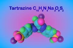 Molecular structure of tartrazine molecule, E102. Tartrazine is a bright yellow pigment, a harmful colorant that is used. In many foods. Food and drink concept stock illustration