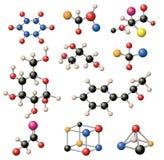 Molecular structure vector set. Stock Photos
