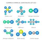 Molecular structures of common chemical substances Royalty Free Stock Photos