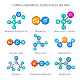 Molecular structures of common chemical substances.  vector illustration