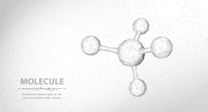 Molecule. Abstract futuristic wireframe 3d micro molecule structure with sphere. vector illustration