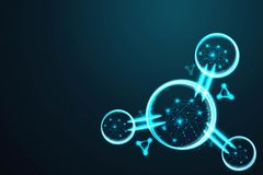Molecule, Abstract wire low poly, Polygonal wire frame mesh looks like constellation on dark blue night sky with dots and stars, i royalty free illustration
