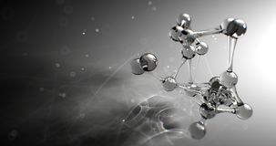 Molecule or atom nano research chemical concept. seamless Loop animation 8k 4k UHD