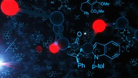 Molecule and Atom Structure Illustration. A splendid 3d rendering of big black and red molecule structures on the black background with shining rays, light blue Stock Photo