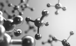 Molecule or atom structure, science background. 3d rendering Stock Photos
