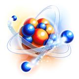 Molecule, atoms and particles. In motion vector illustration