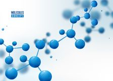 Molecule background. Atoms. Molecular structure with blue connected particles. Molecule background. Atoms. Molecular structure with blue connected spherical stock illustration