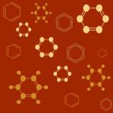Molecule benzene. Red vector illustrarion Stock Photos