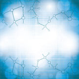 Molecule blue background Royalty Free Stock Photo