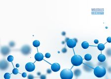 Molecule border design background. Atoms. 3d molecular structure with blue connected spherical particles. Chemical medical motion concept for banner, poster or stock illustration
