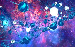 Molecule And Communication Background. Brochure or web banner design. Lines and metallic spheres. Concept of technology and science. 3D rendering. Elements of Royalty Free Stock Photos