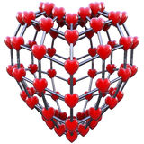 Molecule concept of love. Love concept molecule made in 3d with clipping path Royalty Free Stock Images