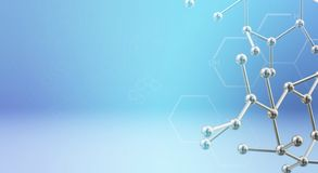 Molecule 3d rendering for  science  content royalty free stock photography