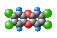 Molecule of dioxin Royalty Free Stock Photography