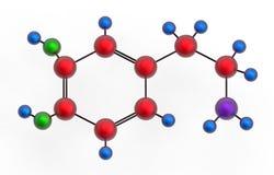 Molecule of dopamine. 3D render, isolated on white stock illustration