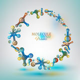 01 Molecule Frame. The illustration of beautiful flying molecules in bright tones. Vector image Stock Photo