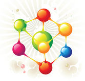 Molecule hexagon. And color circle Stock Photography