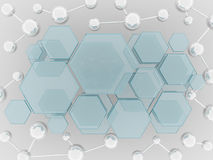 Molecule and hexagon glass science background Royalty Free Stock Photos