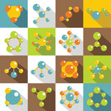 Molecule icons set, flat style. Molecule icons set. Flat illustration of 16 molecule vector icons for web Royalty Free Stock Photo