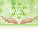 Molecule illustration green background Stock Photography