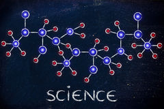 Molecule inspired illustration with text Science Royalty Free Stock Photography