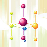 Molecule line. And color sphere Royalty Free Stock Photography