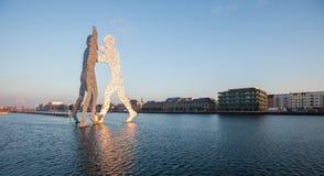 Molecule Man/Men and River Spree, Berlin Royalty Free Stock Images