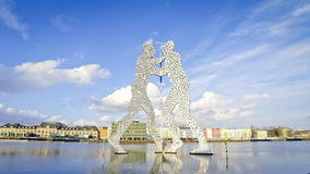 Molecule Man sculpture on the Spree River, Berlin, Germany stock video footage
