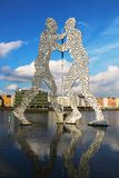 Molecule Man sculpture on the Spree river in Berlin Stock Photos