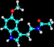 Molecule of Melatonin isolated on black Royalty Free Stock Image