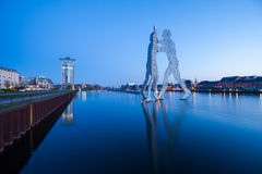 Molecule Men and River Spree Royalty Free Stock Photo
