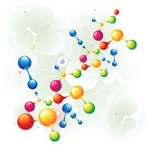 Molecule mixed two. And color circle Stock Image