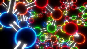 Molecule neon ball and stick model fly through atoms chemistry biology science stock footage