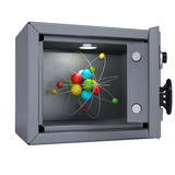 Molecule in an open metal safe Stock Photos