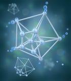 Molecule over chemische achtergrond Stock Afbeelding