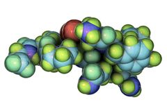 Molecule of oxytocin, a hormone released from the neurohypophysis. 3D illustration. It causes uterine contraction and milk ejection, used in gynecology and vector illustration