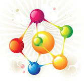 Molecule pentagon. And color circle Royalty Free Stock Photo