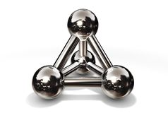 Molecule Structure Chrome. Simple chrome/silver/steel molecular structure rendered in 3D Stock Photos